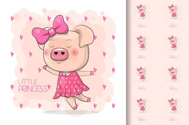 Śliczna rysunkowa prosiątko dziewczyna odizolowywająca na różowym tle