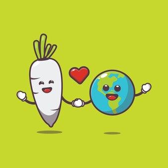 Śliczna rzodkiewka i ziemia ilustracja kreskówka światowy dzień wegetariański ilustracja kreskówka wektor