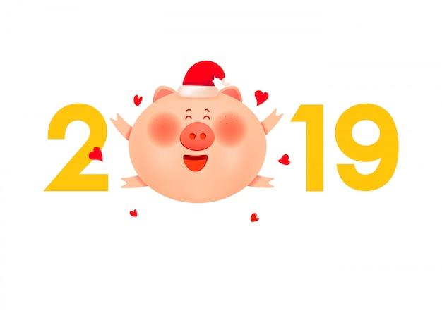 Śliczna santa świnia z liczbami 2019 i miłością.