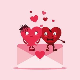 Śliczna serce para w kopertowych charakterach
