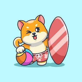Śliczna shiba inu pies lato ikona ilustracja