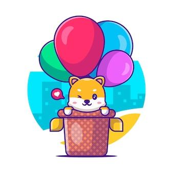 Śliczna shiba latająca z balonem ilustracja kreskówka wektor