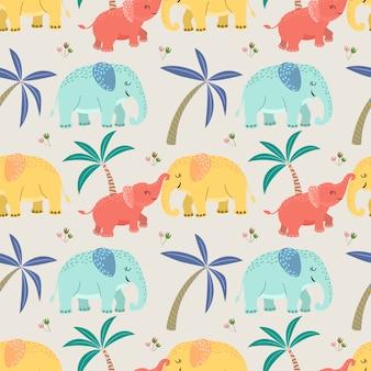 Śliczna słoń mama i dziecko bezszwowy wzór.