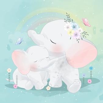 Śliczna słoń matka, dziecko i