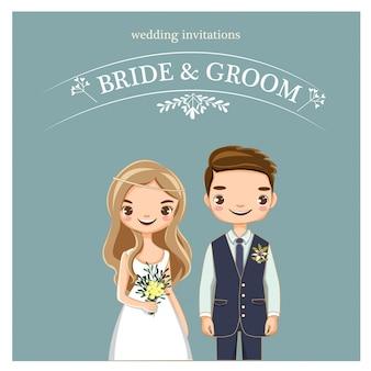 Śliczna ślub para dla zaproszeń kart