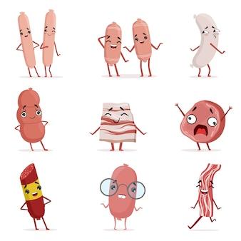 Śliczna śmieszna humanizowana kiełbasa, bekon, salami pokazuje różne emocje set kolorowe charakter ilustracje