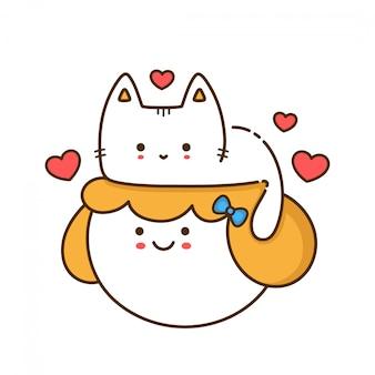Śliczna śmieszna kota figlarka siedzi na kobiety dziewczyny głowie. zarys ikona ilustracja styl projektowania. nadruk na kartkę, koszulka.