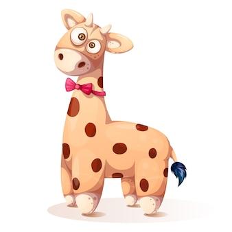 Śliczna, śmieszna miś pluszowy żyrafa, - kreskówki ilustracja.
