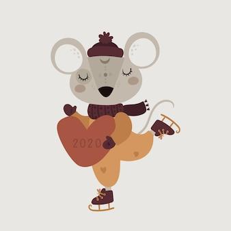 Śliczna śmieszna myszy mysz w szaliku z sercem