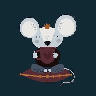Śliczna śmieszna myszy mysz z filiżanką kawy