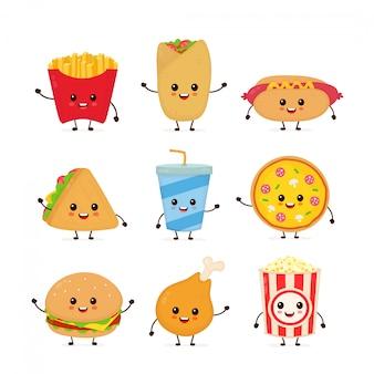 Śliczna śmieszna uśmiechnięta szczęśliwa fasta food i przekąski ustawia kolekcję
