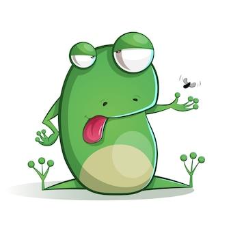 Śliczna, śmieszna żaby kreskówka.