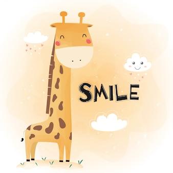 Śliczna śmieszna żyrafa