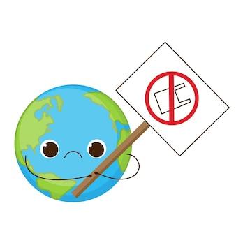 Śliczna smutna ziemia trzyma znak bez plastikowej torby