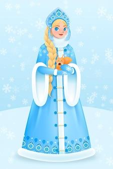 Śliczna śnieżna dziewczyna