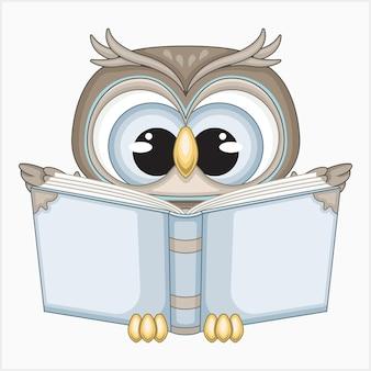 Śliczna sowa czytająca książkę ilustracji wektorowych