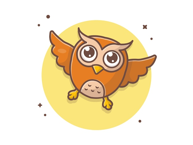 Śliczna sowa latająca ikona ilustracja