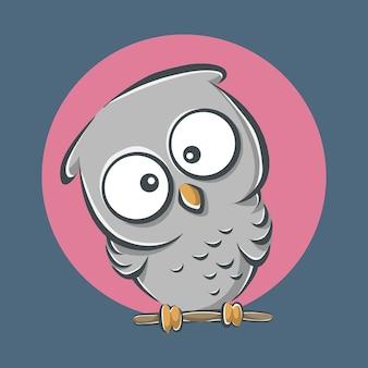 Śliczna sowa wpatrująca się ikona ilustracja kreskówka