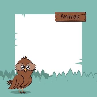Śliczna sowa z ramową kreskówką
