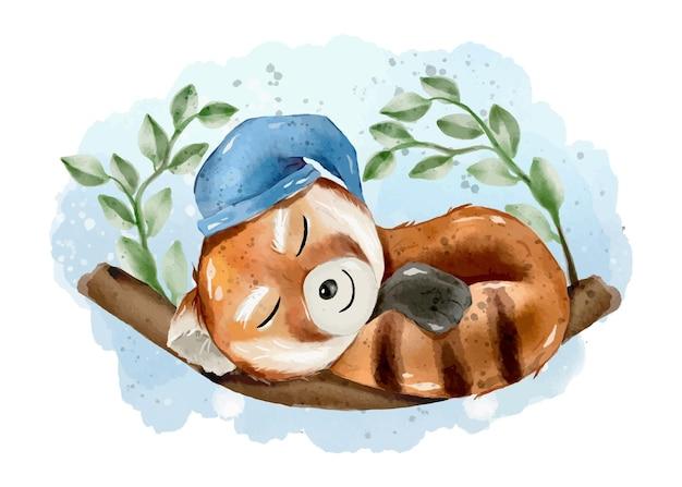 Śliczna śpiąca czerwona panda akwarela ilustracja ręcznie rysowane