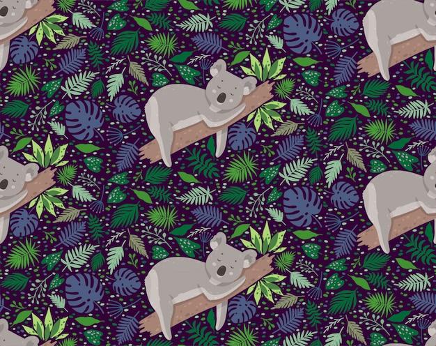 Śliczna śpiąca koala otoczona liśćmi. lato wektor wzór w modnym stylu