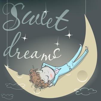 Śliczna śpiąca kreskówka dziewczyna na księżycu