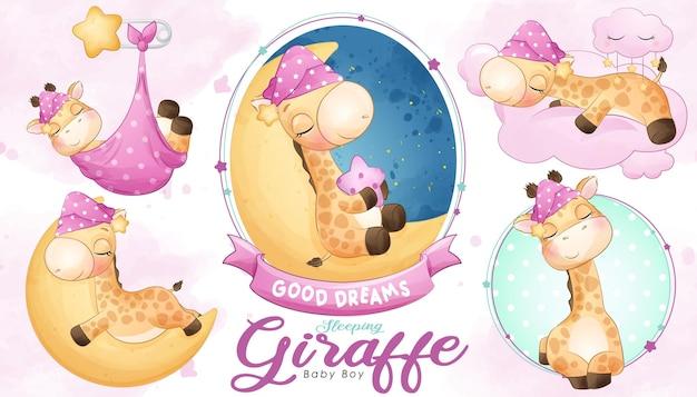 Śliczna śpiąca żyrafa baby shower z zestawem ilustracji akwareli