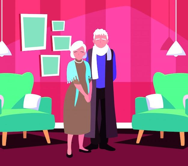 Śliczna stara para w domu inside