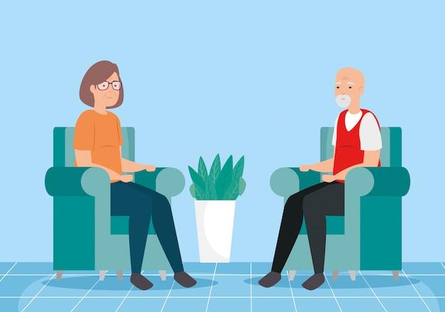Śliczna stara para w pokoju dziennym avatar postacie