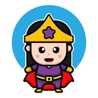 Śliczna super bohaterka ilustracja kreskówka projektowa dziewczyna