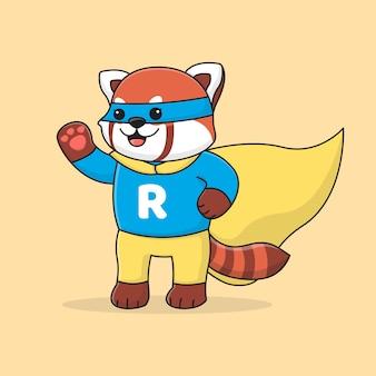 Śliczna super czerwona panda z maską
