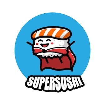 Śliczna super sushi bohater ikona ilustracja kreskówka