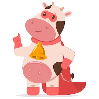 Śliczna superbohater krowa w czerwonej masce i przylądku.