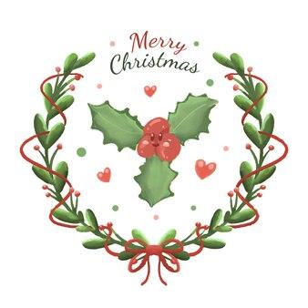 Śliczna świąteczna dekoracja kwiatowa z wieńcem w stylu kreskówek ręcznie rysowane i akwarela z kreskówek