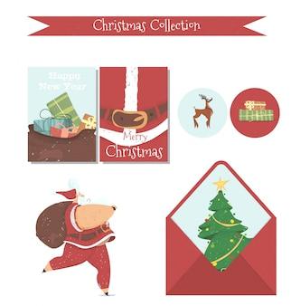 Śliczna świąteczna kolekcja elementów do druku