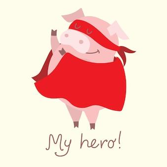 Śliczna świąteczna kolekcja świnek ilustracja wektorowa zabawnych kreskówek świń w różnych strojach su...