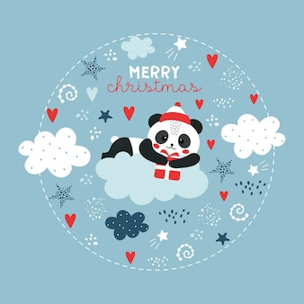 Śliczna świąteczna panda w chmurze.