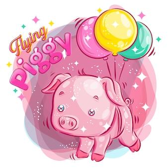 Śliczna świni latająca z balonem. kolorowa kreskówki ilustracja.