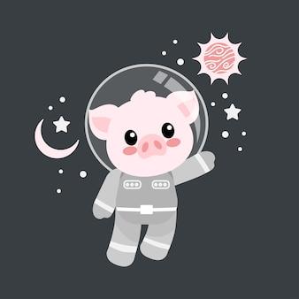 Śliczna świnia astronauta kreskówka doodle ilustracja