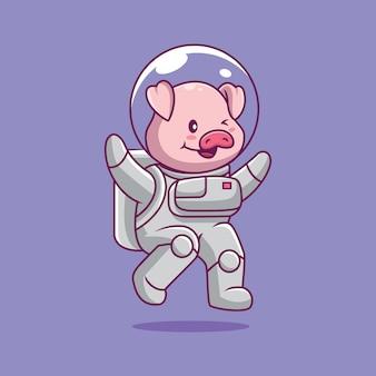 Śliczna świnia astronauta latająca ilustracja kreskówka