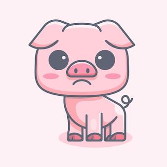 Śliczna świnia do naklejki z logo ikony i ilustracji