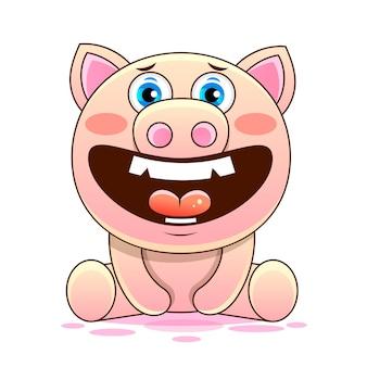 Śliczna świnia kreskówka wektor znak do druku, w komiksach, moda, pop-art