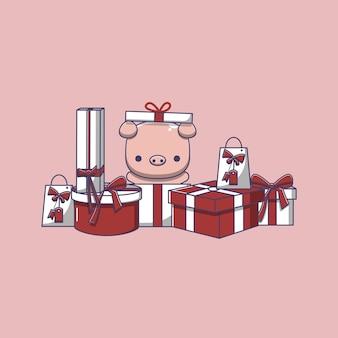 Śliczna świnia otwierająca prezenty świąteczne, obchody dnia boksu