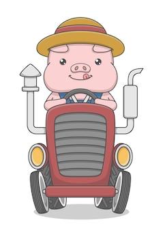 Śliczna świnia postać jeżdżąca traktorem