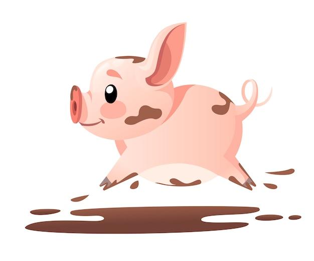 Śliczna świnia. postać z kreskówki . biegnąca mała świnia w błocie. ilustracja na białym tle