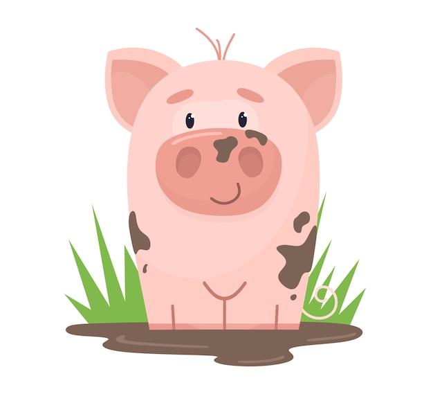 Śliczna świnia siedzi w kałuży błota. w stylu płaskiej kreskówki.