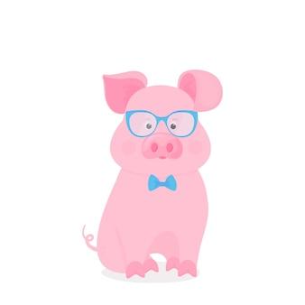 Śliczna świnia siedzi w okularach i muszce. śmieszna świnka. symbol chińskiego nowego roku