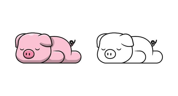 Śliczna świnia śpi kreskówki kolorowanki dla dzieci