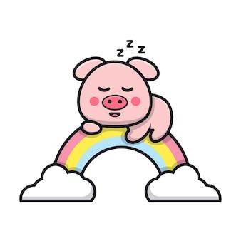 Śliczna świnia śpi na ilustracji kreskówki tęczy