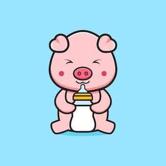 Śliczna świnia trzyma butelkę mleka smoczek ikona ilustracja kreskówka. zaprojektuj na białym tle płaski styl kreskówki